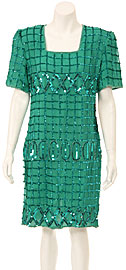 Half Sleeves Knee Length Sequined Cocktail Dress