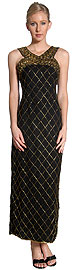 Crossed Front Diagonal Beadwork Formal Beaded Dress