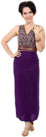 Stemmed Bead V-Neck Formal Evening Dress