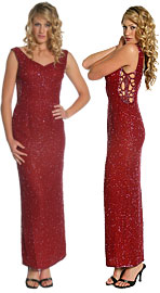 Side Holed V-Low Back Evening Gown