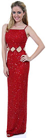 Spaghetti Straps Sequined Long Dress with Keyhole Waist