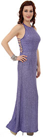 Beaded Formal Evening Gown With Fishbone Back