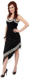 U-Neck Beaded Cocktail Party Dress with Asymmetric Hem