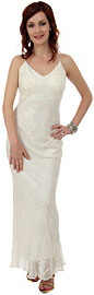 V Neck Beaded Long Formal Evening Dress