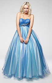 Strapless Mesh Puffy Formal Prom Gown with Beaded Waist
