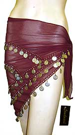 Belly Dancer Beaded Hip Scarf (Burgundy/Silver). bps-013-bus.