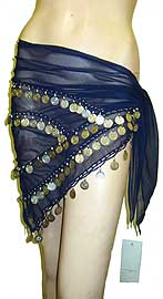 Belly Dancer Beaded Hip Scarf (Navy/Silver). bps-013-ns.