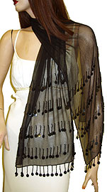 Beaded Black Shawl (Black). bps-015-bb.