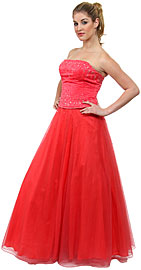 Watermelon A-Line Beaded Prom Dress