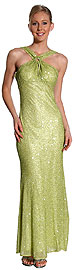 Halter Neck Long Beaded Gown with Flared Bottom