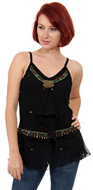 Ruffled and Beaded Spaghetti Strapped Top. kc51.