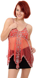 Asymmetric Spaghetti Net Top with Mocha or Silver Beading. kc59.