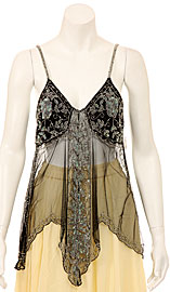 Spaghetti Strapped Gleamed Sheer Top. kc62.
