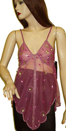 Asymmetric Net Top with Petal Sequin Accent. kc69-2.
