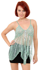 Asymmetric Top with Flowers & Radiating Sequins. kc74.