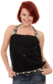 Halter Top Sequined Night on the Beach Blouse. kc84.