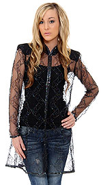 Long Beaded and Netted See-Through Jacket. kd27.