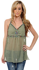 Halter Neck Beaded/Pebbled Top. kd64.