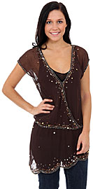 Tinkling Asymmetric Beaded Top. kd65.
