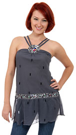 Double Strapped Assymetrical Sequined Top. kd67.