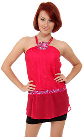 Beaded Patchwork Dual Strapped Halter Top. kd68-1.