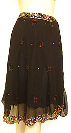 Bead Embellished Knee Length Skirt . ks101.