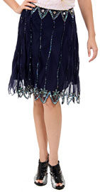 Bead Embellished Knee Length Skirt . ks105.