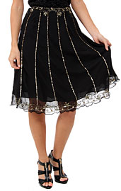Bead Embellished Knee Length Skirt