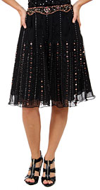 Bead Embellished Knee Length Skirt . ks110.