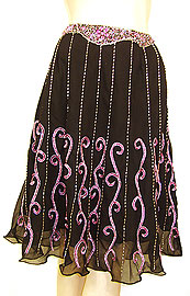 Bead Embellished Knee Length Skirt . ks111.