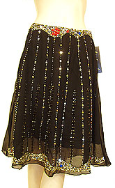 Bead Embellished Knee Length Skirt . ks112.
