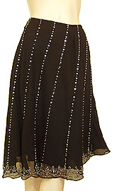 Bead Embellished Knee Length Skirt . ks113.