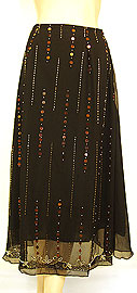 Bead Embellished Knee Length Skirt . ks114.