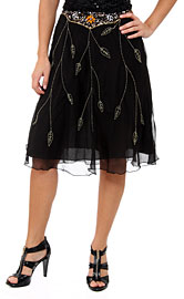 Bead Embellished Knee Length Skirt . ks89.