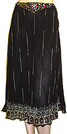 Bead Embellished Tea-Length Skirt. ks93-1.