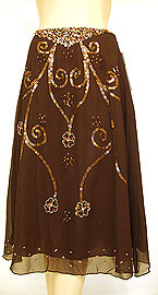 Bead Embellished Knee Length Skirt . ks94.