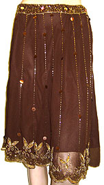 Bead Embellished Tea Length Skirt. ks97-1.