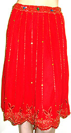 Bead Embellished Tea Length Skirt