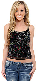 Net Top with Multi-color Beadwork. kt81.