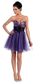 Strapless Flowered Waistline Sequin Party Dress