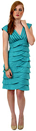 Aqua Inspired Cocktail Dress with Cascading Ruffles