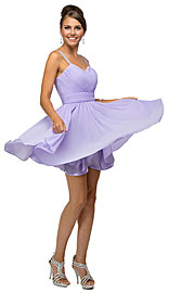 Ruched Bodice Beaded Straps Short Bridesmaid Dress