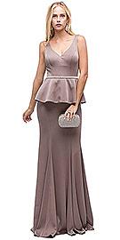 Deep V-Neck Peplum Bodice Long Formal Prom Dress item  p9750 37b205841