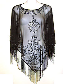 Hand Beaded Mesh Poncho