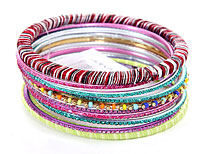 Set of 12 Handmade Bangle Bracelets. pob-02723d.
