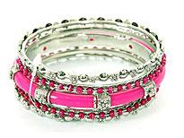 Set of 4 Fuchsia Accented Bangles Bracelets. pob-03900l.
