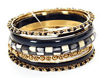 Set of 7 Piece Black/Ivory Colored Bangle Bracelets. pob-04452.