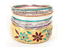 Set of 11 Piece of Multi Colored Bangle Bracelets. pob-04479.