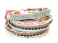 Set of 14 Silver Accented Bangle Bracelets. pob-04544.