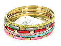 Set of 7 Piece Assorted Bangle Bracelets. pob-04606a.